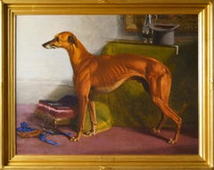 Large scale 19th century dog portrait oil painting of a prize greyhound