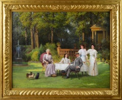 Portrait oil painting of a family taking tea in a garden