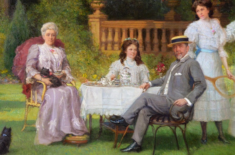 Portrait oil painting of a family taking tea in a garden  - Victorian Painting by Talbot Hughes