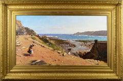 19th Century coastal seascape oil painting of Robin Hood's Bay, Yorkshire