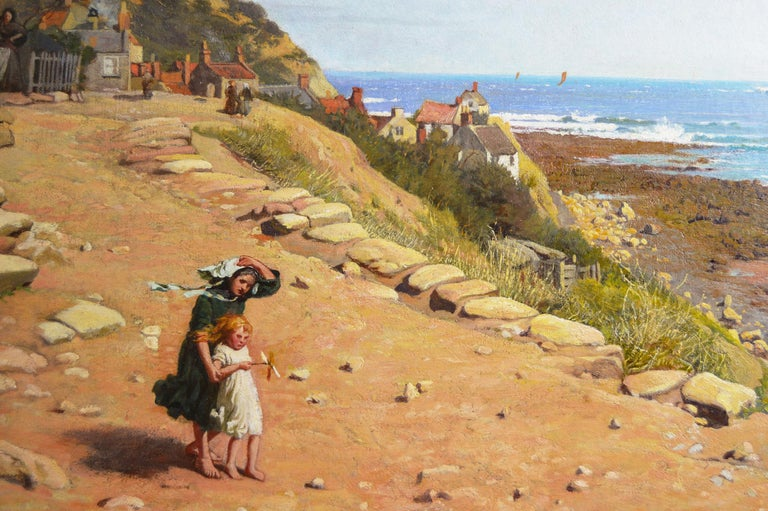 19th Century coastal seascape oil painting of Runswick Bay, Yorkshire  - Victorian Painting by Frederick George Cotman