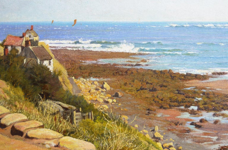 19th Century coastal seascape oil painting of Runswick Bay, Yorkshire  - Beige Landscape Painting by Frederick George Cotman