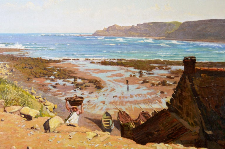 Frederick George Cotman British, (1850–1920) Runswick Bay Oil on canvas, signed & dated 1875 Image size: 20 inches x 36 inches  Size including frame: 31.5 inches x 47.5 inches  Frederick George Cotman was born in Ipswich on 14th August 1850, the son