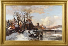 19th Century winter landscape oil painting of figures skating by a town