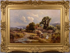 19th Century landscape oil painting of figures by a cottage