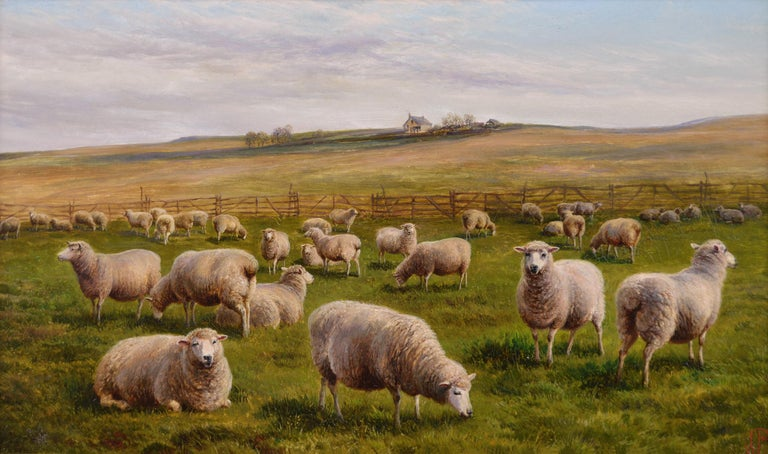 19th Century landscape oil painting of Sheep - Painting by Charles Jones (b.1836)