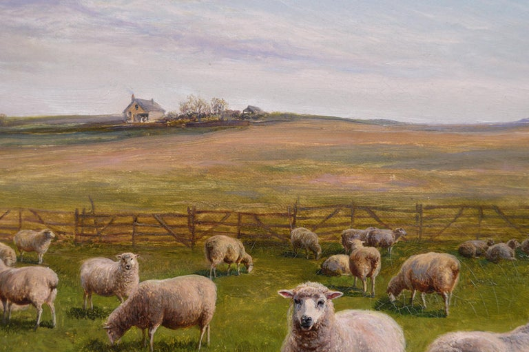 19th Century landscape oil painting of Sheep - Brown Animal Painting by Charles Jones (b.1836)