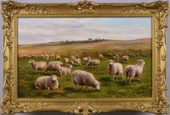 19th Century landscape oil painting of Sheep