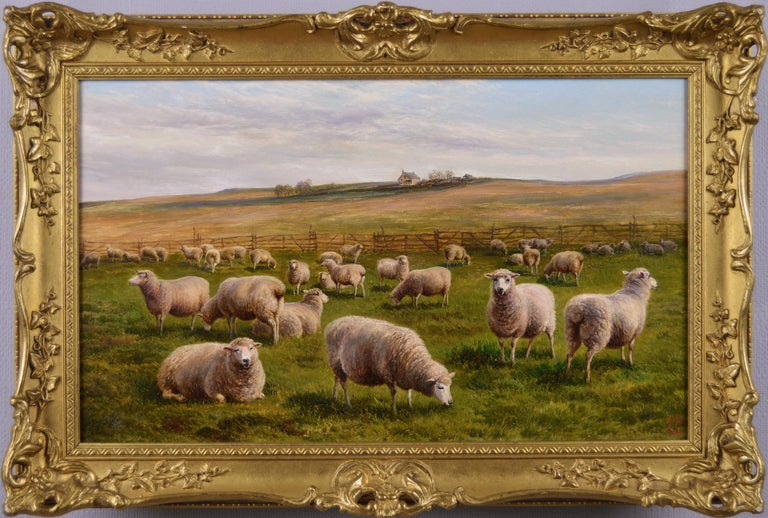 Charles Jones (b.1836) Animal Painting - 19th Century landscape oil painting of Sheep