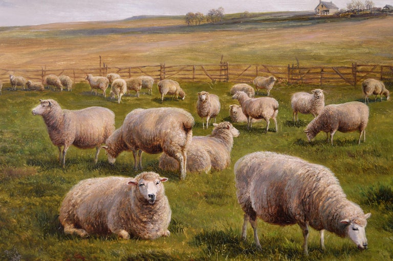 19th Century landscape oil painting of Sheep - Victorian Painting by Charles Jones (b.1836)