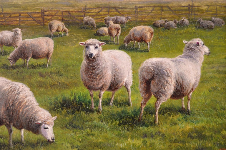 Charles Jones British, (1836-1892) Sheep in a Landscape Oil on canvas, signed with monogram & dated (18)92 Image size: 11.75 inches x 19.75 inches Size including frame: 16 inches x 24 inches  Charles Jones was a London animal painter who was well