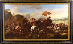 17th Century military landscape oil painting