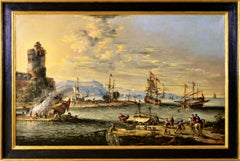 Large scale 17th Century seascape oil painting of a harbour with ships