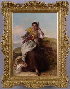 19th Century genre oil painting of a maiden in a coastal landscape