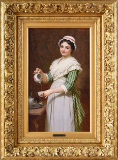 19th Century genre oil painting of a maiden pouring tea