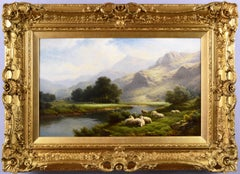 Welsh landscape oil painting of sheep near a river