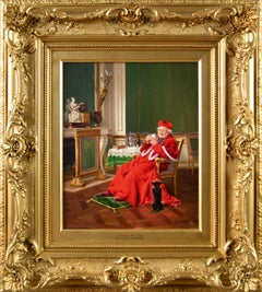 19th Century genre oil painting of a cardinal and a dog