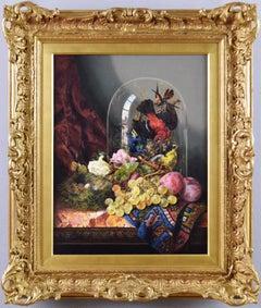 19th Century still life oil painting of flowers, fruit & birds