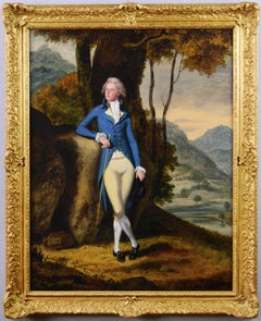 18th Century portrait oil painting of a gentleman in a landscape