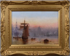 19th Century marine oil painting of shipping on the Thames
