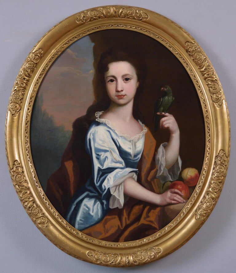 Circle of Robert Byng Portrait Painting - 18th Century portrait oil painting of a girl with a parrot