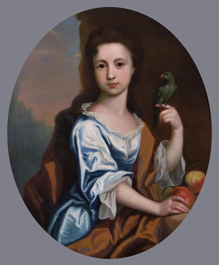 18th Century portrait oil painting of a girl with a parrot - Painting by Circle of Robert Byng