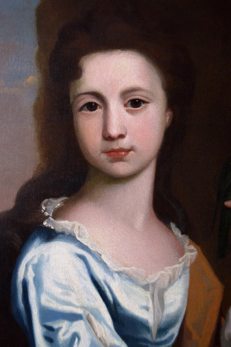 18th Century portrait oil painting of a girl with a parrot - Old Masters Painting by Circle of Robert Byng