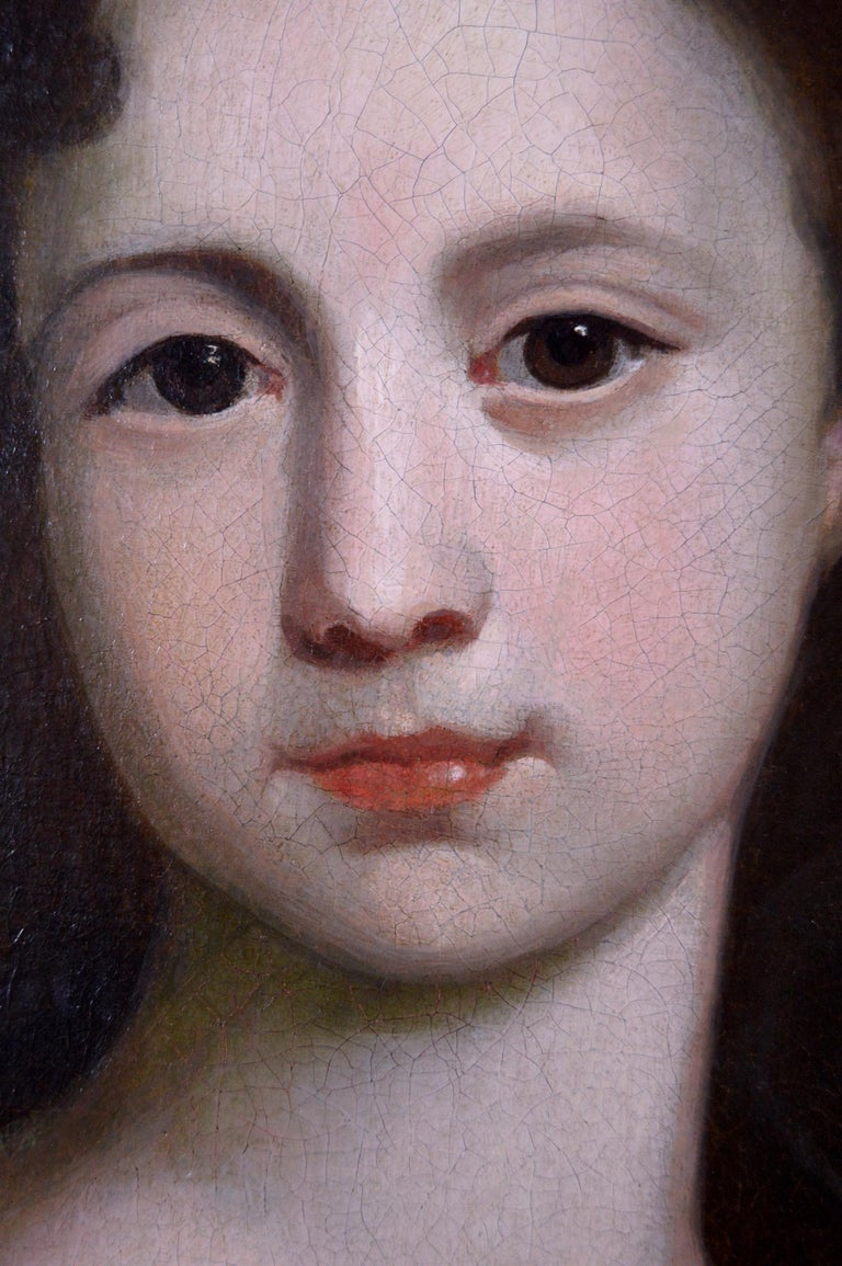 18th Century portrait oil painting of a girl with a parrot For Sale 2