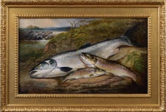 19th Century sporting still life oil painting of salmon and trout