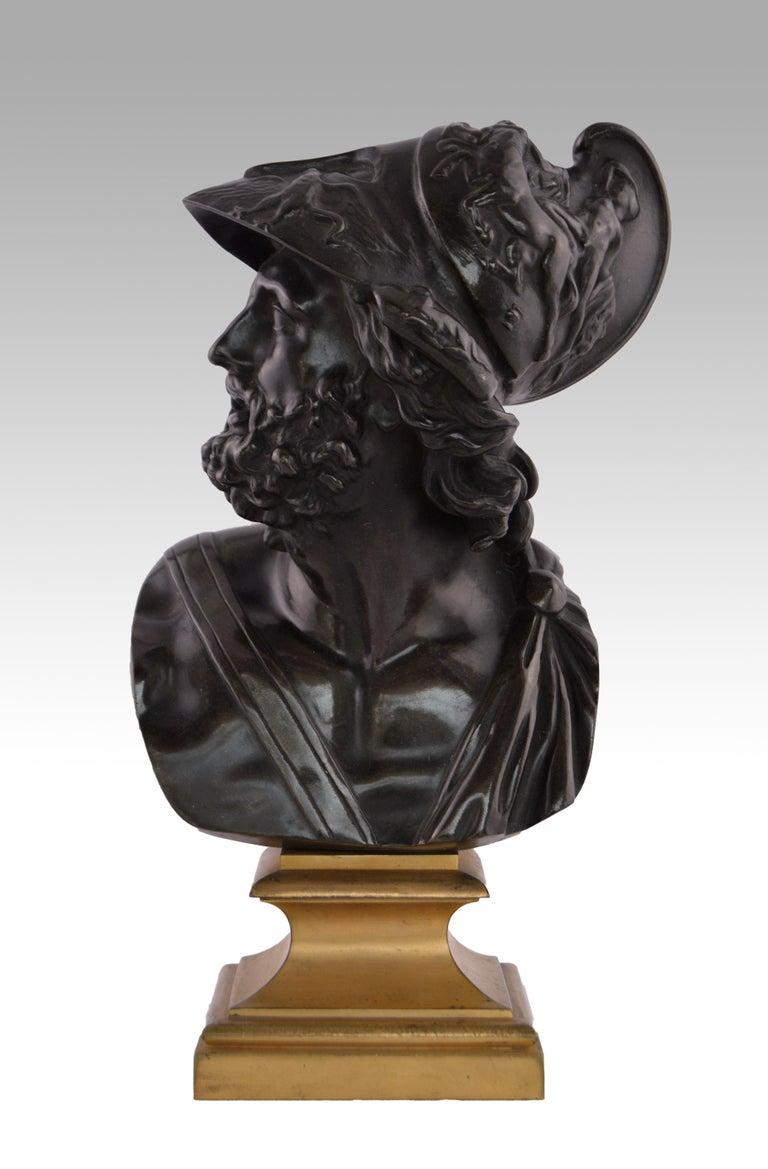 Italian Grand Tour Figurative Sculpture - 19th Century French Grand Tour bronze sculpture of Menelaus
