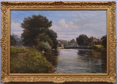 19th century river landscape oil painting with a view of Windsor Castle