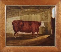19th Century naive primitive portrait oil painting of a prize cow