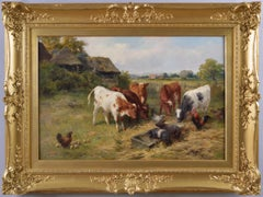 19th Century landscape animal oil painting of calves, piglets & chickens