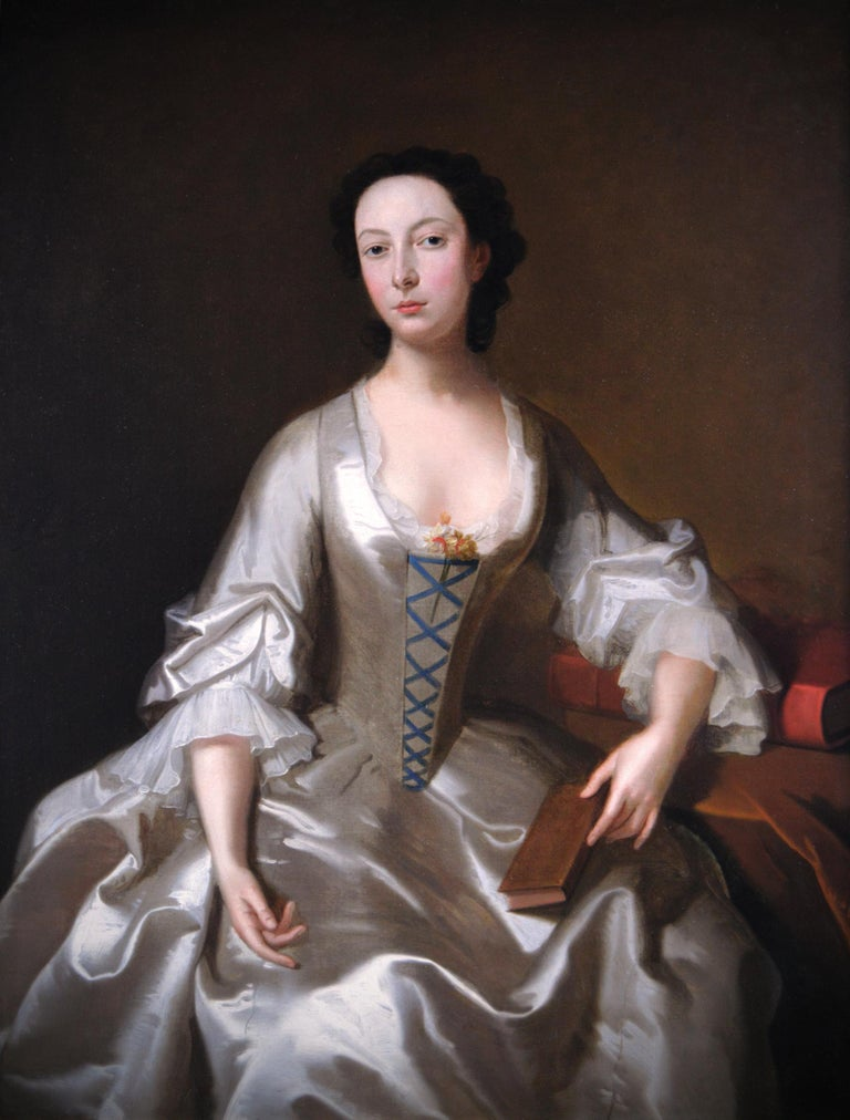 18th Century portrait oil painting of a young woman - Painting by (Circle of) Allan Ramsay