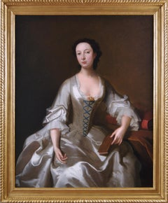 18th Century portrait oil painting of a young woman