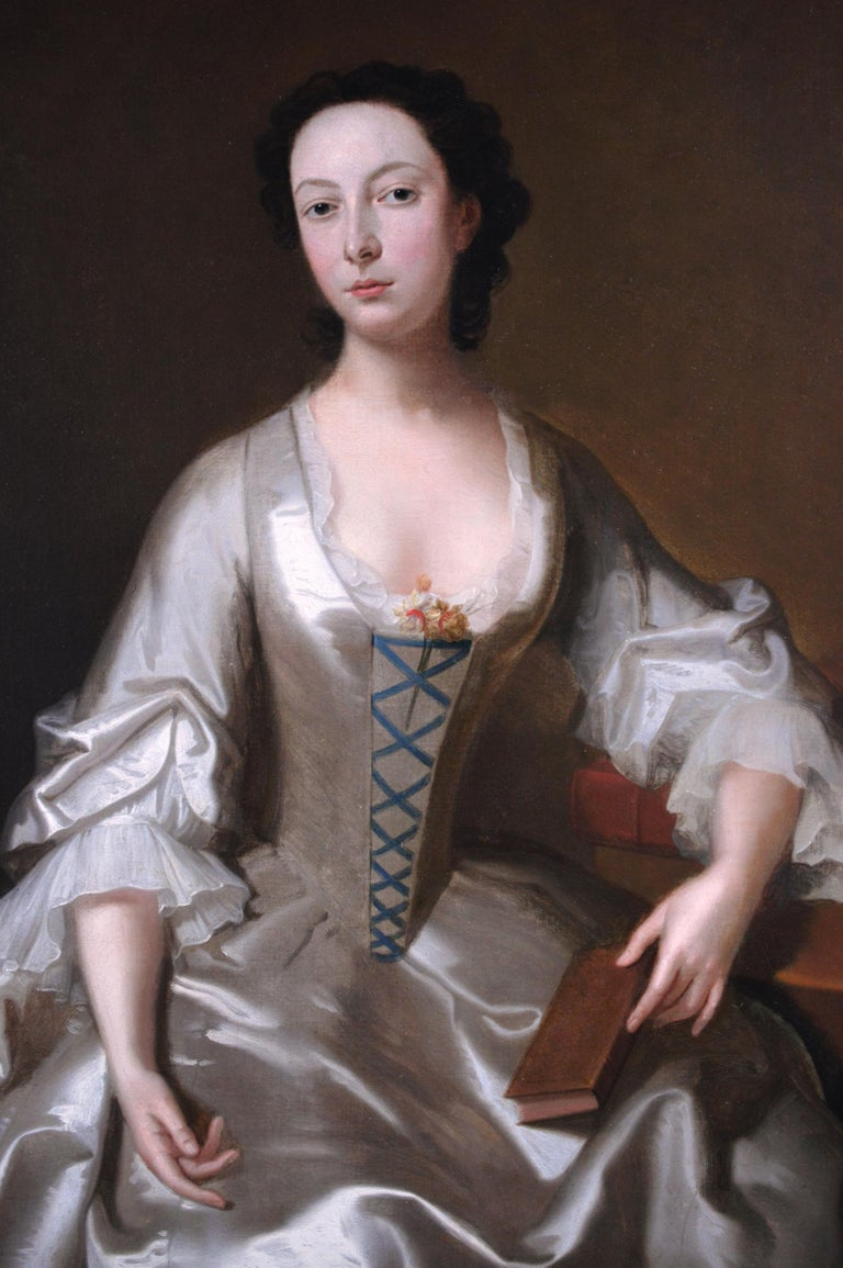 18th Century portrait oil painting of a young woman - Old Masters Painting by (Circle of) Allan Ramsay