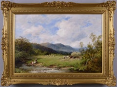 19th Century landscape oil painting of hay making in the Lake District