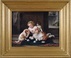 19th Century genre oil painting of a young girl with puppies