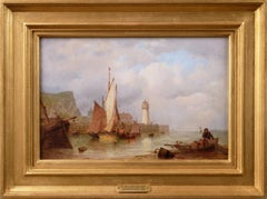 19th Century seascape oil painting of a lighthouse & boats off Scarborough