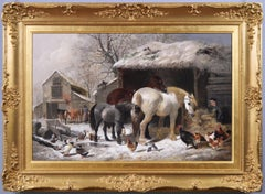 19th Century genre rustic oil painting of a farmyard in winter