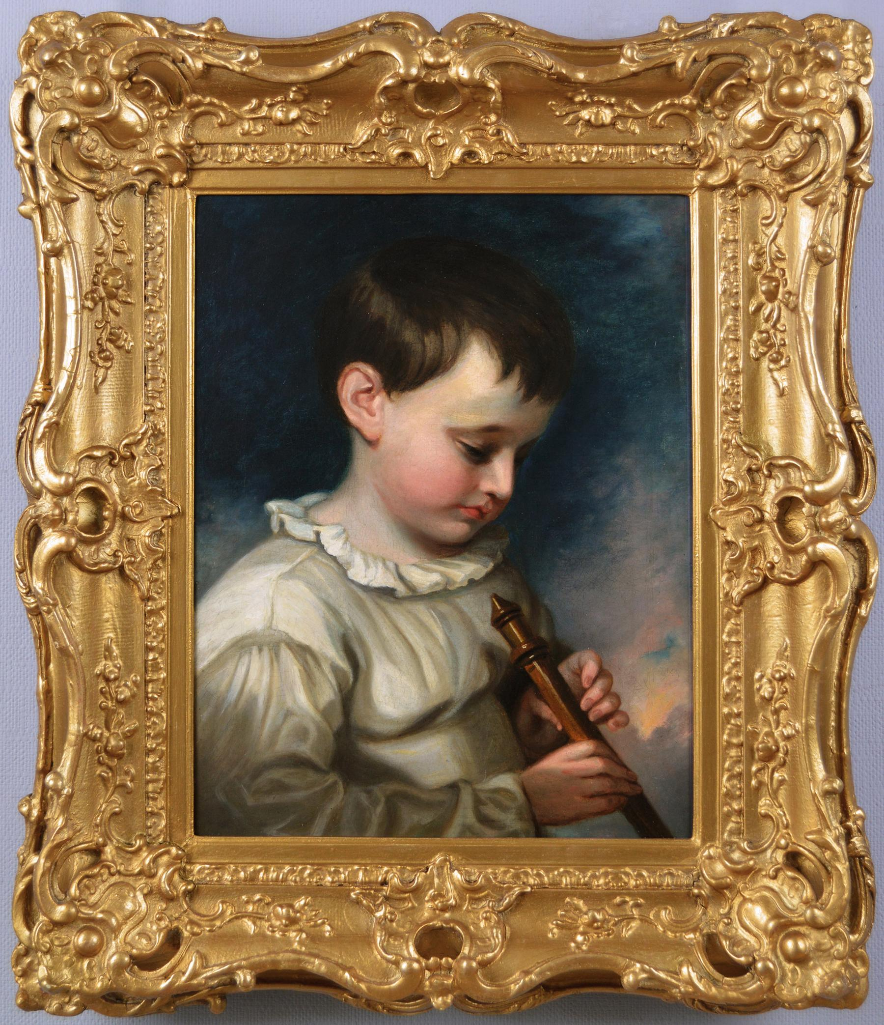 Early 19th Century genre oil painting of a boy playing a flute