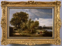 19th Century landscape oil painting of the river Thames