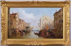 19th Century townscape oil painting of  Venice by Jane Vivian