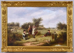 19th Century genre oil painting of children playing