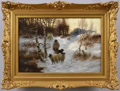 19th Century winter landscape oil painting of a shepherd with his dog & sheep