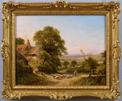19th Century landscape oil painting of sheep near a cottage