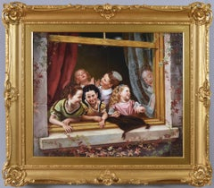 19th Century genre oil painting of girls at a window