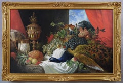 Large scale 19th century still life oil painting of fruit, game & silverware