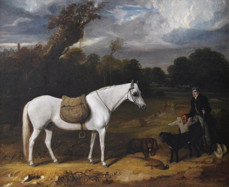 Early 19th Century sporting oil painting of a gamekeeper with a horse & dogs  - Painting by William Smith (act. 1813-1859)