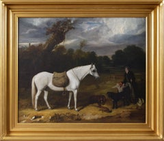 Early 19th Century sporting oil painting of a gamekeeper with a horse & dogs